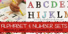 Printable Letter & Number Sets! Tons of different options - large letters for crafts, the whole alphabet on one sheet (outlined), big numbers, etc. Check it out! From LearnCreateLove.com