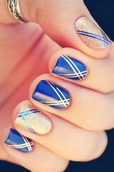 "smartcutiestyles: ""On prom night, every little detail matters and this includes your nails! Take a look at these 43 cute prom nails designs. Read more: 43 Cute Prom Nails. Fancy Nails, Gold Nails, Blue Nails, Pretty Nails, Striped Nails, Gold Manicure, Classy Nails, Glittery Nails, Elegant Nails"