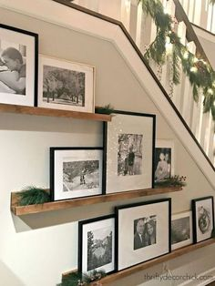 51 Unusual picture frame wall decor ideas on a budget - Nice . - 51 Unusual photo frame wall decorating ideas on a budget – Nice 51 Unusual photo frame wall decor - Picture Shelves, Picture On Wood, Gallery Wall Shelves, Gallery Wall Staircase, Staircase Picture Walls, Picture Wall Staircase, Nice Picture, Frame Wall Decor, Frames On Wall