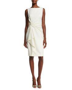 Carolina Herrera Sleeveless Ruffle-Front Sheath Dress, Ivory