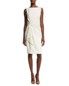 Carolina Herrera Sleeveless Ruffle-Front Sheath Dress, Ivory