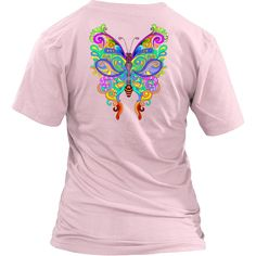 Limited Edition #ButterflyArt - Wear this comfy back printed butterfly art wear with pride! This butterfly colllection comes in  on a variety of colors and sizes to choose from! #ColorfulAnimals #Tee #ColorfulCatCo #CatLovers
