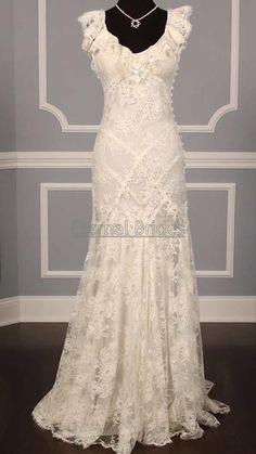 Cap Sleeves V neckline Lace Sheath Wedding Dress by EternalBrides, $399.00