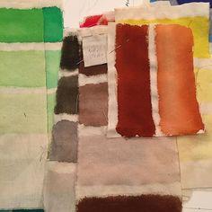 Farveprøver, tush på tekstil, til billedtæppe, Københavns Domkirke