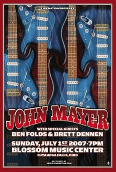 Original concert poster for John Mayer & Ben Folds live in Cuyahoga Falls, Ohio in Dimensions: on card stock paper. Tour Posters, Band Posters, Music Posters, John Mayer Concert, Blossom Music Center, Ben Folds, Cuyahoga Falls, Sports Signs, Jazz Blues