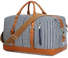 Unisex Large Capacity Canvas Plus Leather Portable Weekend Overnight Travel Bag Striped Sports Duffel Tote Luggage Holdall Handbag Shoulder Bags for Men and Women Lightweight Carry-on Under Seat Tote