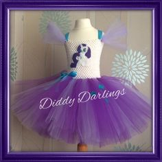 Rarity Tutu Dress. Beautiful & lovingly handmade.  All characters and colours available Price varies on size, starting from £25.  Please message us for more info.  Find us on Facebook www.facebook.com/DiddyDarlings1 or our website www.diddydarlings.co.uk