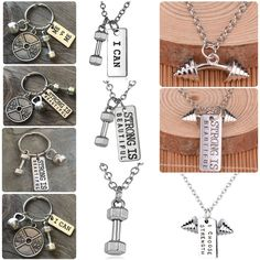 Dumbbell Fitness Gym Handweights Charm Barbell Keyring Chain Pendant Necklaces