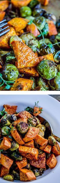 How to make this Brussels sprouts and sweet potatoes. From the Food Charlatan // Roasted vegetables (like these Brussels sprouts and sweet potatoes) are amazing. Make them ahead and reheat! Perfect healthy side dish for Thanksgiving and Christmas! Veggie Recipes, Vegetarian Recipes, Cooking Recipes, Healthy Recipes, Sweet Recipes, Keto Recipes, Bacon Recipes, Delicious Recipes, Savory Sweet Potato Recipes