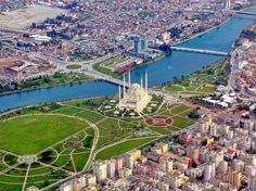 Overhead shot of Adana, Turkey. We used to hang out in that park across from the mosque. Need A Vacation, Vacation Places, Places Around The World, Around The Worlds, The Beautiful Country, Turkey Travel, Famous Places, Beautiful Places To Visit, Amazing