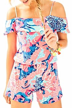 8e3f6e561001 Lilly Pulitzer Klea Romper - Front Cropped Image Knitted Romper