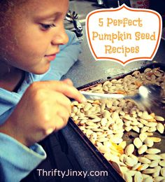 5 amazing pumpkin seed recipes including pumpkin seed pesto, salad garnish, pumpkin seed candy, toasted seeds and more!