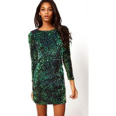 Sequined Bodycon Green Dress (€16) ❤ liked on Polyvore featuring dresses, green, bodycon dress, party dresses, sequin mini dress, long-sleeve mini dress and long sleeve cocktail dresses