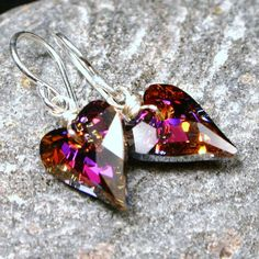Fuchsia Heart Earrings ... Fiery Red Pink Wild Swarovski Crystal on Sterling Silver ... Valentine Gift ... Tough Love