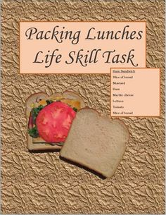 Life skill task to teach students about lunch preparation. Images are real photos for a great visual effect.
