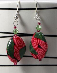Pink Rose and Leaf Flat Oval Twist  Earrings by OrdinaryWomen on Etsy