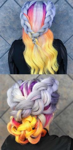 Pastel rainbow braids with crimping 2018 hairstyles.