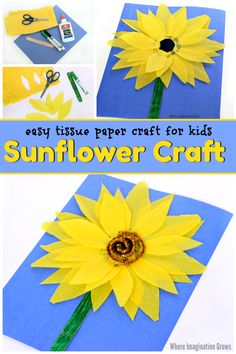 Simple tissue paper sunflower craft for kids! A fun and colorful flower craft for preschoolers and toddlers. Uses simple and affordable craft materials. A great craft project for summer to do with kids! #summercrafts #sunflowercraft #tissuepapercrafts #kidscrafts #preschool Tissue Paper Crafts, Paper Crafts For Kids, Easy Crafts For Kids, Craft Activities For Kids, Preschool Crafts, Simple Crafts, Activity Ideas, Summer Activities, Learning Activities