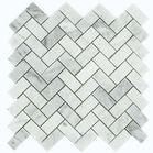 "{Carrara (Carrera) Venato 1x2"" Herringbone Honed Marble Mosaic Tile}"