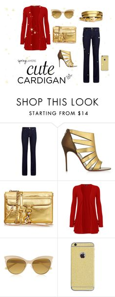"""""""Golden Spring"""" by madalina-bailesteanu on Polyvore featuring 7 For All Mankind, Christian Louboutin, Rebecca Minkoff, WearAll, Vivienne Westwood, cutecardigan and springlayers"""