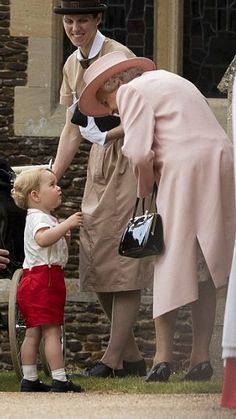 Queen Elizabeth, Prince George and Nanny Maria on Charlotte's christening day. July 5, 2015