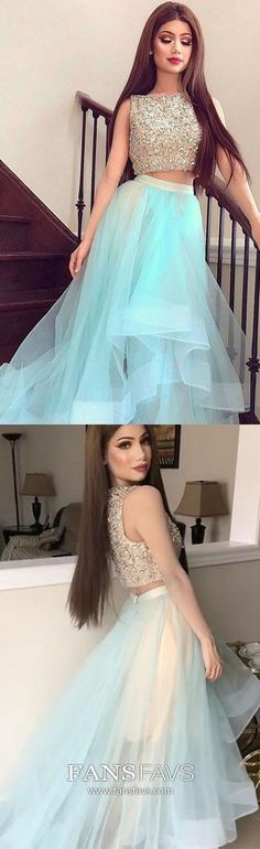 Blue Prom Dresses Long, Two Piece Prom Dresses A Line, Sparkly Prom Dresses Beading, Modest Prom Dresses For Teens Senior Prom Dresses, High Low Prom Dresses, Prom Dresses For Teens, Prom Dresses 2018, Prom Dresses Online, Cheap Prom Dresses, Party Dresses, Graduation Dresses, Quince Dresses