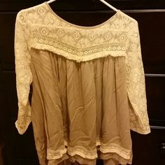 """Spotted while shopping on Poshmark: """"Very beautiful beige with light cream lace top""""! #poshmark #fashion #shopping #style #UMGEE USA #Tops"""