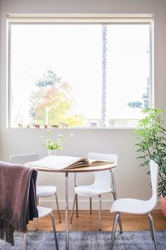 Bright dining space with mod white chairs, a gray area rug, and indoor plants