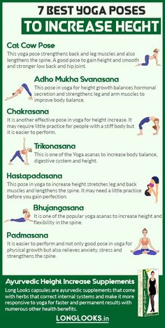 Here& the best yoga poses to increase height fast and grow taller naturally. These yoga stretches for height growth help both males and females to become taller. Gym Workout For Beginners, Gym Workout Videos, Fitness Workout For Women, Yoga Workouts, Get Taller Exercises, Stretches To Grow Taller, Stretching Exercises, Exercise To Grow Taller, Band Exercises