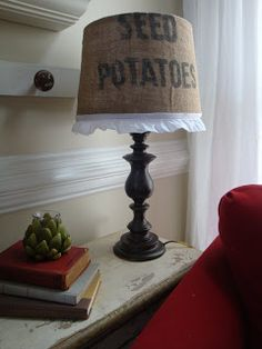 A Little Piece of Heaven: Thrift Store lamp + old potato sack = Chic Lamp Makeover