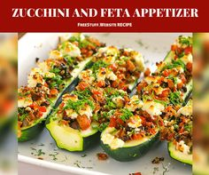 "Zucchini and Feta together are mouth watering. This appetizer will have your taste buds saying "" I want more""."