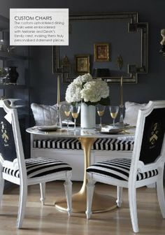 love the white and gold dipped round table for dinning nook. I could also incorporate blk & white stripe decor.