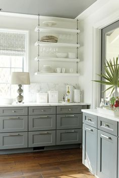 Favorite Things Friday -gray cabinets and ceiling, floating shelves
