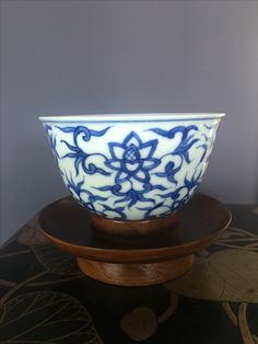 Blue and white ceramic tea cup
