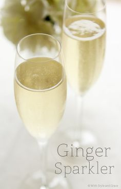 This is a delicious champagne cocktail, perfect for a wedding or baby shower, holiday party, girls night, etc. - Ginger Sparkler.