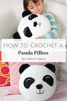This easy crochet pattern will have you whipping up your very own panda bear in no time! this pattern is rated easy beginner and is written in us terms magic circle crochet tutorial Crochet Pillow Pattern, Crochet Cushions, Crochet Toys Patterns, Stuffed Toys Patterns, Crochet Blocks, Afghan Patterns, Square Patterns, Blanket Crochet, Crochet Granny