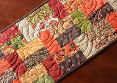 Fall Thanksgiving Pumpkin Quilted Table Runner by JennyMsQuilts