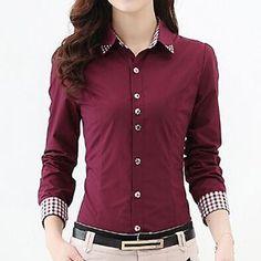 High Quality Women Blouses Casual Plaid Patchwork Blouse Shirt Women Tops Blusas Plus Size Long Sleeve Blouse Shirt Cheap Blouses, Cute Blouses, Shirt Blouses, Blouses For Women, Button Up Shirt Womens, Button Up Shirts, Stylish Shirts, Casual Shirts, Formal Shirts