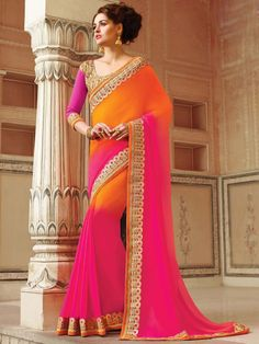 Alluring orange and pink color georgette saree decorated with zari work. Item Code: SHE19189 http://www.bharatplaza.com/new-arrivals/sarees.html