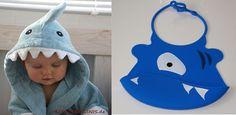 hooded towel + shark BIB Set in blue shark in blue von Schnuffelinis.de