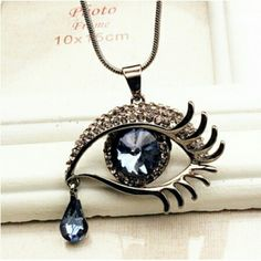 Beautiful eye teardrop necklace. Silver , necklaces. Accessories