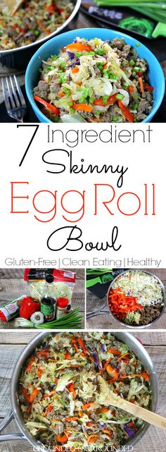 7 Ingredient Skinny Egg Roll Bowl Chinese food in a bowl is always a winner, but easy and healthy Chinese recipes are even better. This clean eating, vegetable packed, turkey sausage (or pork) eggroll combination is sure to cure any takeout cravings you Healthy Chinese Recipes, Paleo Recipes, Asian Recipes, Cooking Recipes, Gluten Free Chinese Food, Skinny Recipes, Cheap Recipes, Potato Recipes, Crockpot Recipes