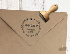 STEMPEL . Save the Date . Hochzeit . Zarte Blätter von Der kleine Sperling - Stempel auf DaWanda.com
