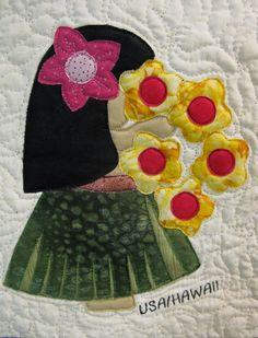 HAWAII Sunbonnet Sue block at MooseStash Quilting.  from:  International Sunbonnet Sue by Debra Kimball.
