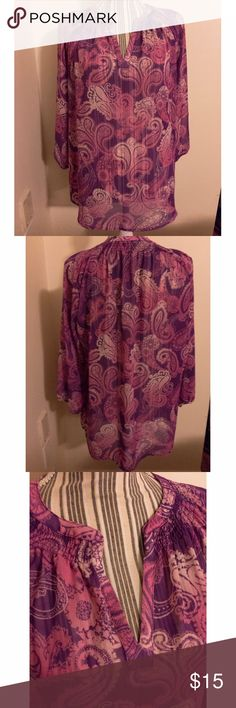 Pink and Purple Paisley Print Sheer Top Cute Sheer top perfect for work or casual wear. It was worn once but is still in excellent condition. It's size medium but could also fit a large because it is loose. New York & Company Tops Blouses