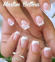 Simple Florals - Decorating Your French Manicure 10 Simple Fourth Of July Nails To Keep You Minimalist Cute Nails, Pretty Nails, My Nails, Pink Ombre Nails, Bridal Nail Art, Pearl Nails, Bride Nails, Floral Nail Art, Wedding Nails Design