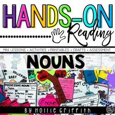 Teach nouns with this engaging hands-on resource. This bundle includes three weeks (15 days) of mini lessons, anchor charts, class games with recording sheets, interactive notebook pages, task cards, crafts, and three quick assessments. This is a complete hands-on mini unit that will add fun and excitement to your classroom. The first week covers common nouns, the second week is all about proper nouns, and the third week focuses on those tricky possessive nouns! #HollieGriffithTeaching