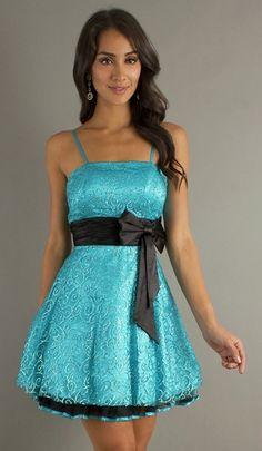 24d20189d7fe Chic Turquoise Junior Prom Dress Short Spaghetti Straps Bow Waist $99.99  Grad Dresses, Homecoming Dresses