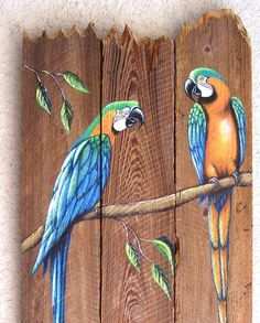 Parrot Pair Hand Painted on Wood Reclaimed Fence by roseartworks, $80.00