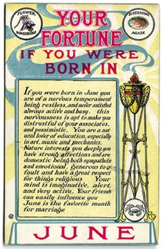 """Cancer Zodiac Sign♋. Gemini Zodiac Sign.  1909 Your Fortune If Born In June Postcard by OakwoodView on Etsy. """"Your Fortune If You Were Born in June""""  Gives a description of the June personality, as well as the flower (honeysuckle) and birthstone (agate). Copyright 1909. A517. From the """"Your Fortune"""" series published by M.T. Sheahan."""
